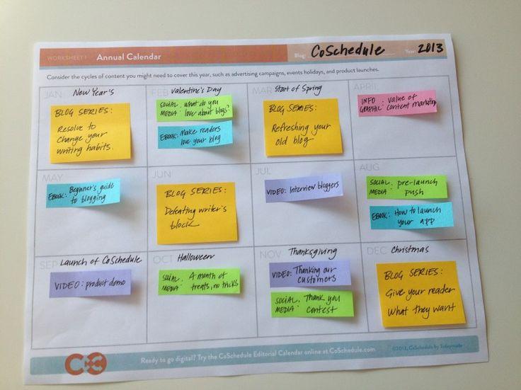 Voorbeeld van de contentkalender van CoSchedule