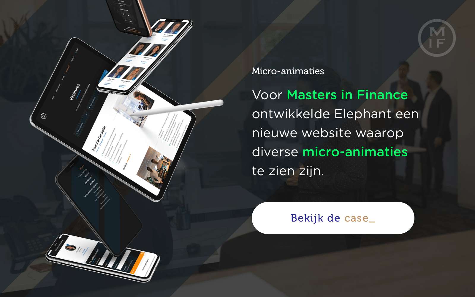 Visual van Masters in Finance case