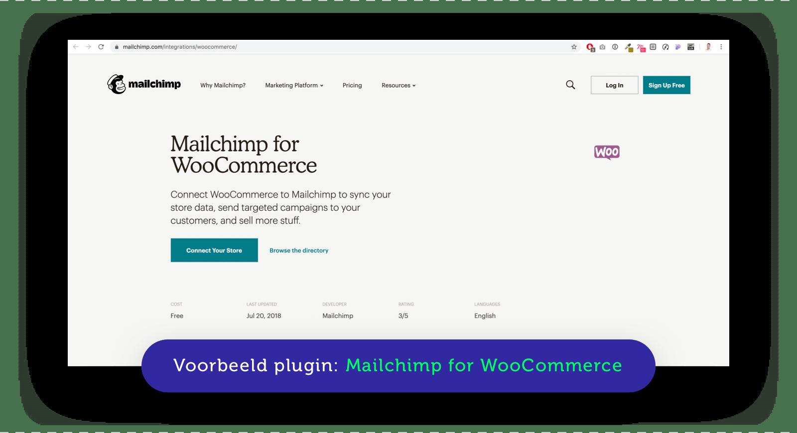 Voorbeeld van een API plugin van MailChimp
