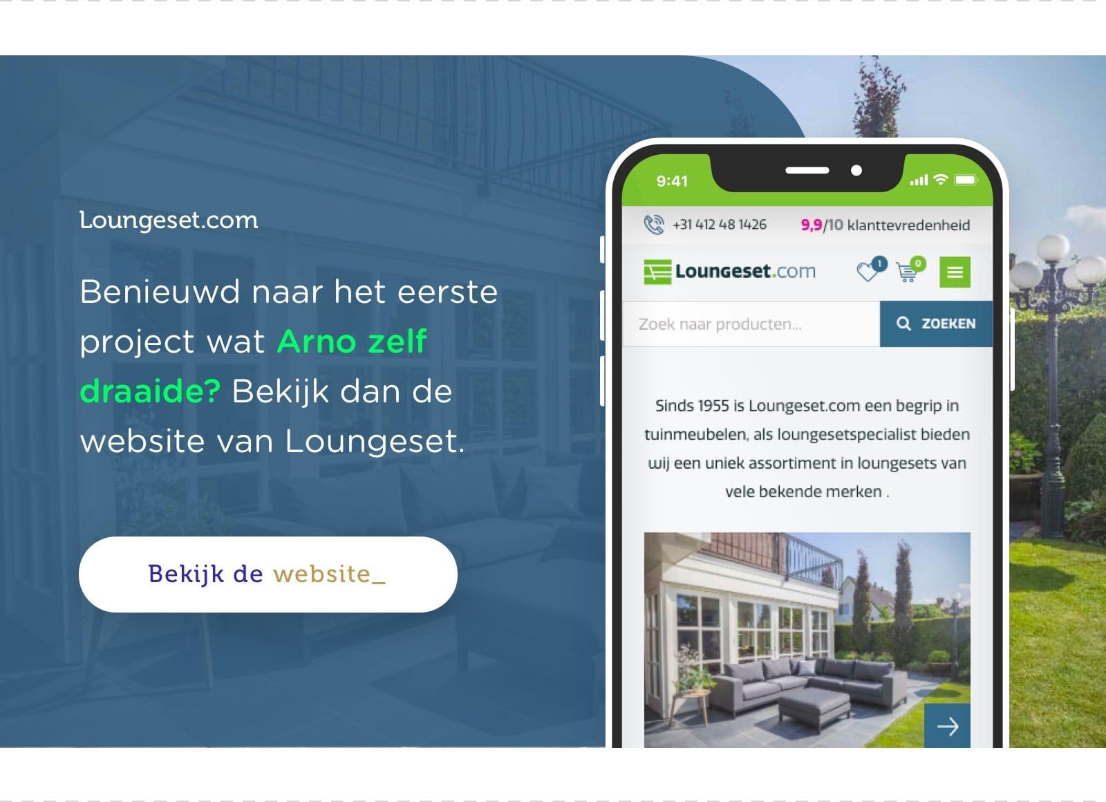 Bekijk de website van Loungeset die Arno heeft ontwikkeld