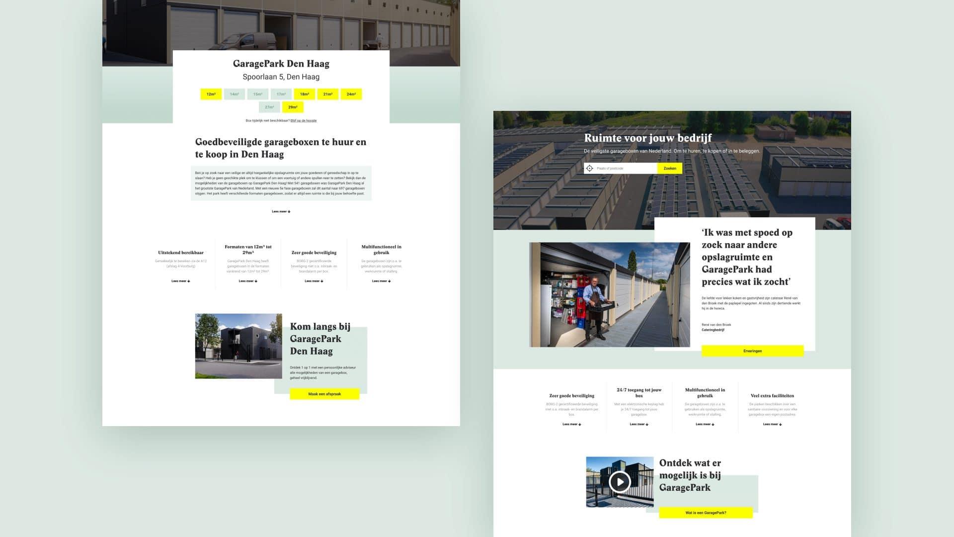 Screens van de Garagepark website